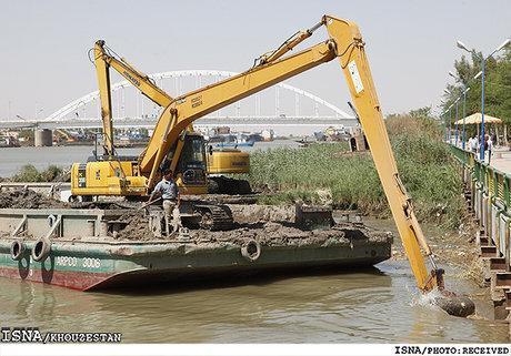 آخرین وضعیت لایروبی رودخانه کارون در مقطع اهواز