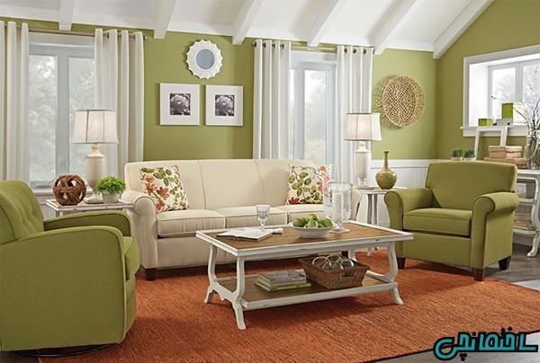 ایده های طراحی اتاق نشیمن با استفاده از رنگ سبز