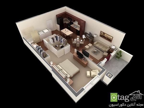 پلان و نقشه آپارتمان یک خوابه با طراحی مدرن و امروزی